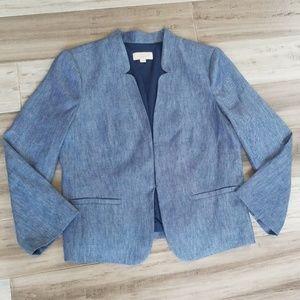 Ann Taylor The Loft Chambray Blue Linen Blazer